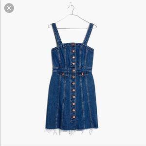 NWT Madewell Raw Edge Denim Button Front Dress 6